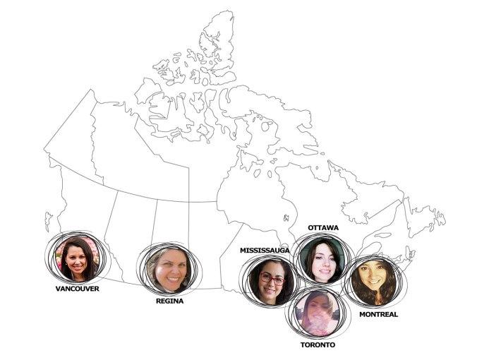 mapa do canadá com fotos de blogueiras nas cidades